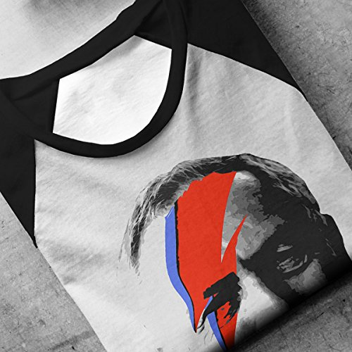 Jeremy Corbyn Ziggy Stardust David Bowie Men's Baseball Long Sleeved T-Shirt White/Black