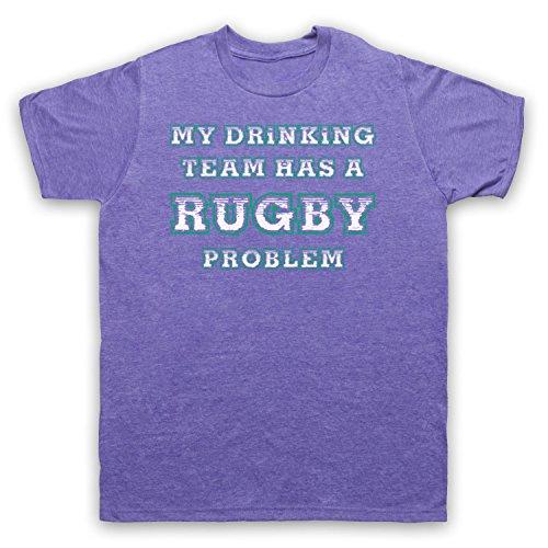 My Drinking Team Has A Rugby Problem Funny Rugby Slogan Herren T-Shirt Jahrgang Violett