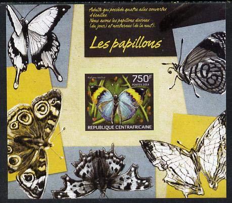 Central African Republic 2014 Butterflies #01 imperf s/sheet D- u/m BUTTERFLIES JandRStamps