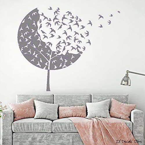 Vogelschwarm Wandtattoos Wald Baum Wandaufkleber Für Kindergarten Gothick Stil Schwalben Aufkleber Kinderzimmer Dekoration grau 74x90 cm -