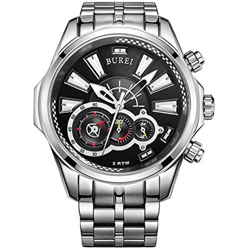 Burei Montre Homme Mode Sport Montre à Quartz chronographe Cadran analogique avec Date boîtier en métal Bracelet en Acier Inoxydable