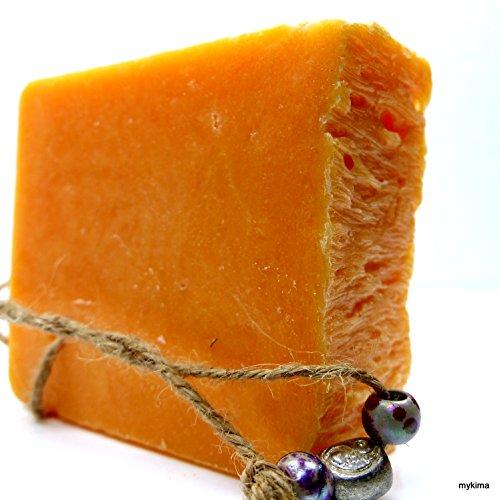 Kaltgerührte Schafmilchseife Pfirsich 150gr | Naturseife liebevoll verpackt im Leinensackerl! -