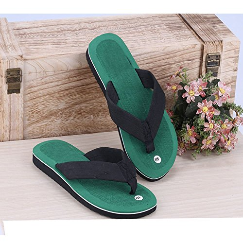 Linyuan Casual Style Men's Summer Beach Strand Flip Flops Shoes Slippers for Holiday Green