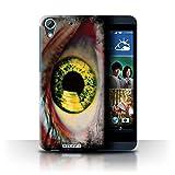 Custodia/Cover Rigide/Prottetiva STUFF4 stampata con il disegno Occhi/Iris per HTC Desire 626G+ - Arancione