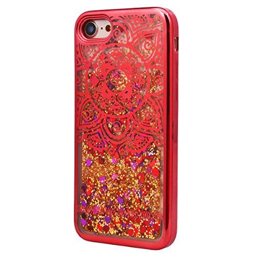 Yokata iPhone 7 Hülle Liquid Transparent Weich Silikon Gel Crystal Clear TPU Case Glitzer Handyhülle Bling Schutzhülle Treibsand 3D Etui Durchsichtig Ultra Dünn Slim Backcover Galvanik Rahmen Bumper P Rot