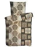 Leonado Vicenti 4 teilige Bettwäsche Baumwoll-Biber 135x200 cm Ornamente Beige Braun Weiß warm mit Reißverschluss