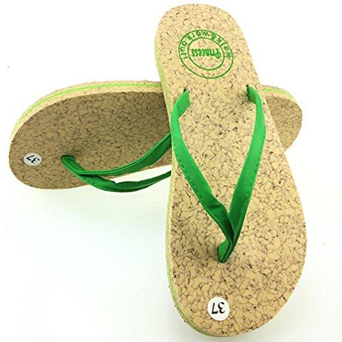 SHANGXIAN Le glissement des femmes Comfort Thong Sandal green