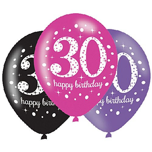6 x 30th Birthday Balloons - Pink Celebration - Black Pink Lilac