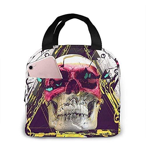 lunch bag, skull clock butterfly riutilizzabile tote borsa bento box portatile, cibo caldo e fresco