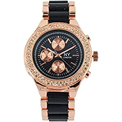 Branded Fashion Ladies Watch / Womens Watch at Discounted Sale Price - Rose Gold & Black Watch with Crystals