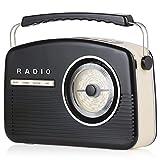 Akai A60010DABBT Portable Retro DAB Radio Alarm Clock with Backlight/LCD Display and Bluetooth