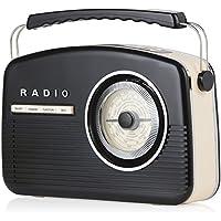 Akai A60010DABBT Portable Retro DAB Radio Alarm Clock with Backlight/LCD Display and Bluetooth - Black - ukpricecomparsion.eu