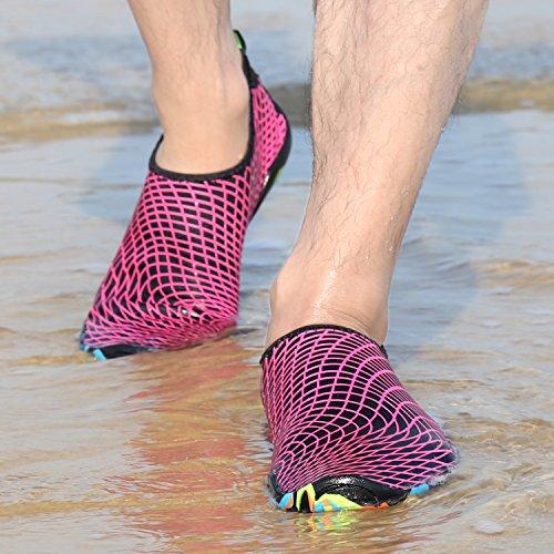 JOYTO Scarpe da Immersione Uomini Donna Scarpette da Bagno Mare Spiaggia Yoga Unisex Elastico Traspirante Antiscivolo Nero Rosso Verde 35-45 Rosso