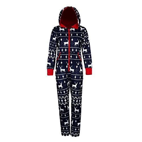 Damen Jumpsuit Pyjamas FORH Frauen Langarm Weihnachten Elch Bedruckt Overall Nachthemden Winter warm lang hoodie Schlafanzüge Hosenanzug Jumpsuit Anzug Sleepwear Overall (XL, Marine(Herren))