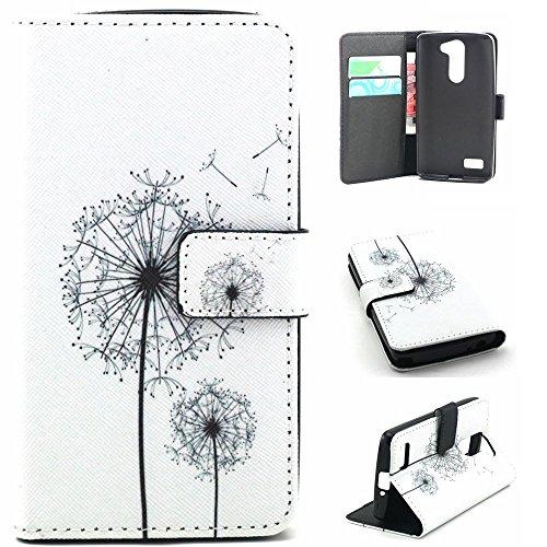 LG Bello D331 Smartphone Carcasa-PU Cuero Cartera [Book-Style] Funda Carcasa de Piel para LG L Bello D331 D335 Flip Case Cover -Diente de León