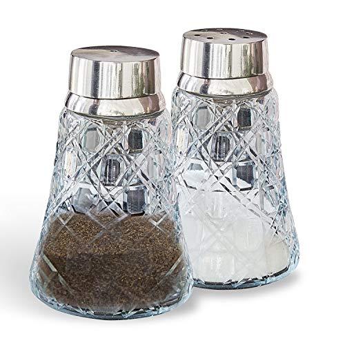 Loberon Salz- und Pfefferstreuer Chilian, Glas/Messing, H/Ø ca. 11,5/7,5 cm, klar/silber (Klar, Salz-und Pfefferstreuer)
