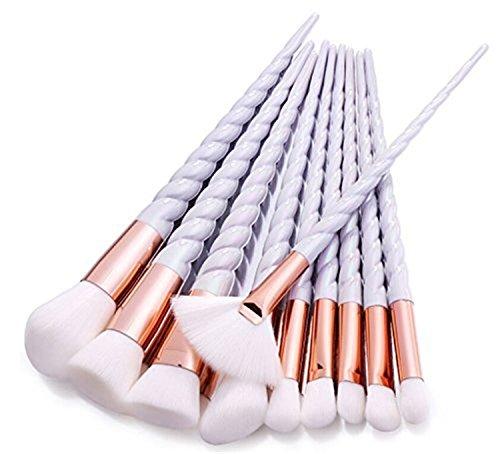 10pcs Brosse de Maquillage de Licorne Brosse Poudre Contour Blush Correcteur Fondation Pinceaux Cosmétique Brosse Set Outils (Blanc)