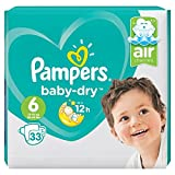Pampers Baby-Dry Air Channels For Breathable Dryness Overnight, 33 Nappies, 13-18 kg, Size 6