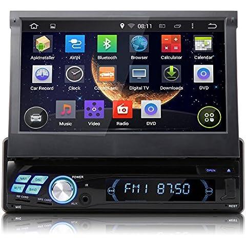 Reproductor de DVD, sistema de GPS, Bluetooth, pantalla táctil, con sistema operativo para coche GA1312 Quad Core Pure Android 4.4.4, DIN único, 7 pulgadas