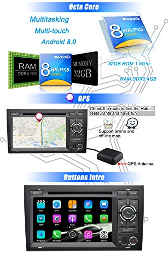 Ohok 2 Din Car Radio Android 8 0 for Audi A4 2002-2008 Oreo Octa Core  4G+32G Sat Nav DVD Player GPS Navigation Supports Bluetooth WLAN DAB+  OBD2,7