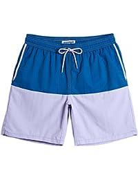 MaaMgic Homme Short de Bains Maillot de Bain Filet Style Tropical Voyage Pants Court de Sport Séchage Vite Bien Vacance a la Plage