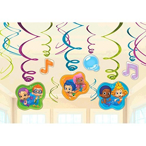 Bubble Guppies Foil Swirl Hanging Decorations by Bubble Guppies Party Supplies (Bubble Guppy Supplies Party)