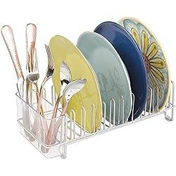 mDesign égouttoir à vaisselle pour la cuisine - avec un range couverts - egouttoir vaisselle inox pour assiettes, verres, tasses, etc. - en acier - satiné/transparent