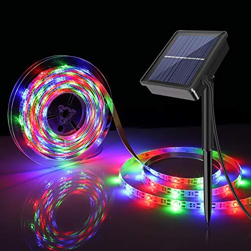 Tira de LED Lámparas Solares 5M 300 LEDs RGB Impermeable IP67 con 8 Modos de Sensor de Luz Auto ON/OFF Decoración para Fiestas Bodas Jardines Festivales