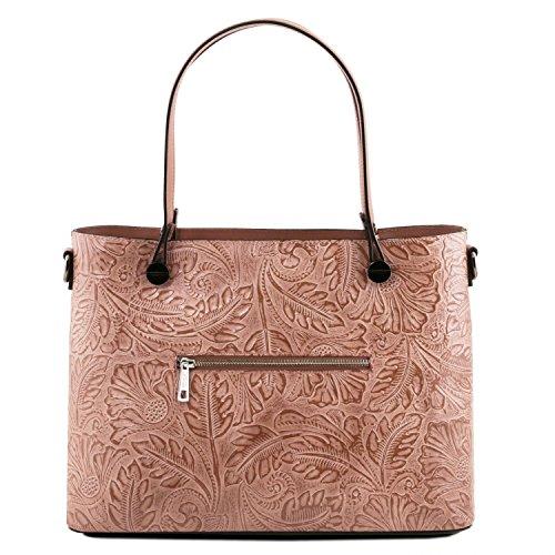 Tuscany Leather Atena Borsa shopping in pelle Ruga stampa floreale - TL141655 (Blu scuro) Nude