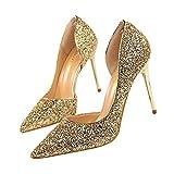 Beikoard-scarpa da Donna Estremamente Sexy Tacchi Alti Scarpe da Donna Scarpe con Tacchi Sottili Scarpe da Donna(Oro,39)