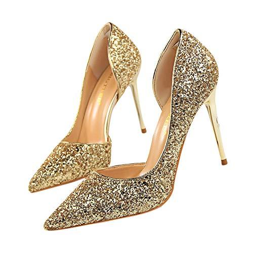 Beikoard-scarpa da Donna Estremamente Sexy Tacchi Alti Scarpe da Donna Scarpe con Tacchi Sottili Scarpe da Donna(Oro,37)