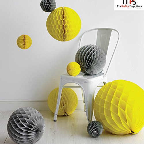 My Party Suppliers Paper Honeycomb Party Decoration Ball - Yellow 3 Pcs