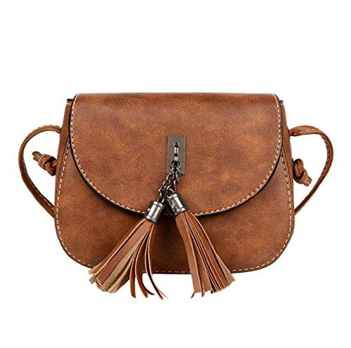 ESAILQ Damen Mode Handtasche Quaste Umhängetasche Große Tote Damen Handtasche (Braun) (Große Tote Quasten)