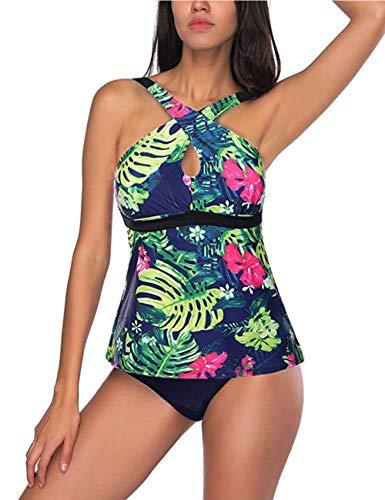 621ca1f54c993 FeelinGirl Damen Neckholder Push up Sport Streifen Bikini Set Bandeau Strandmode  Bademode Badeanzug Zweiteilige Gepolstert Strandkleidung Split