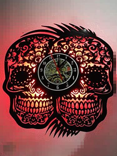 Handgefertigte Uhr zum Aufhängen, Doppelte mexikanische Totenköpfe, Nachtlicht, Kreative Hohle Vinyle-Schallplatten, Wanduhr, Vintage, Halloween, Party-Dekoration, Geschenk, 30,5 cm rund