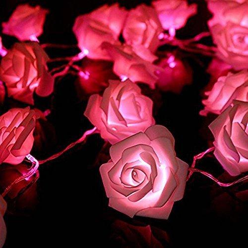 COFCO FRE 2M 20 LED Batterie Rose Flower Fairy String Lights ideal für Hochzeit Partei Weihnachtsdekoration - rosa Licht