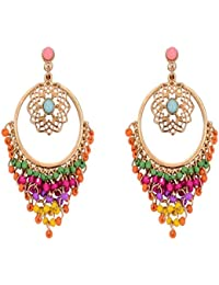Crunchy Fashion Multicolor Metal Dangle & Drop Earrings For Women