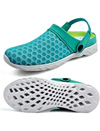 QANSI-Mujer Zuecos Transpirable Acoplamiento de Playa Piscina,Sandalias Zapatos de Verano