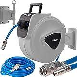 MASKO®10m Druckluftschlauch Aufroller automatisch 1/4' Anschluss - Schlauchtrommel Wandschlauchhalter Schlauchaufroller Druckluftschlauch-Aufroller Druckluftschlauch-trommel/Farbe: Blau