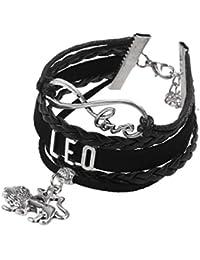 Tinksky Múltiples capas pulseras elegante colgante Constellatory pulsera brazalete pulsera de cuero, mejor regalo para los hombres de las mujeres (Leo)