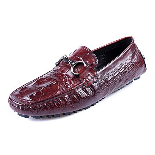 GRRONG Chaussures En Cuir Pour Hommes Chaussures Paresseux Chaussures Pour Hommes Pédales En Cuir WineRed