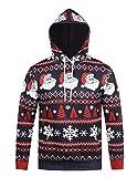 Honeystore Unisex 3D Druck Kapuzenpullover Weihnachtsmann Sweatshirt Weihnachten Langarm Top Shirt Herbst Spaß Hoodie Blau und Rot M