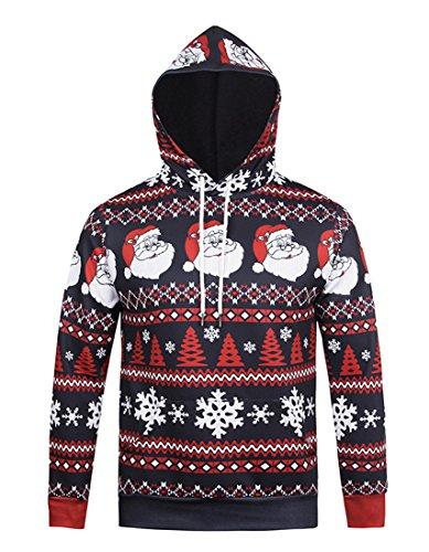 Honeystore Unisex 3D Druck Kapuzenpullover Weihnachtsmann Sweatshirt Weihnachten Langarm Top Shirt Herbst Spaß Hoodie Blau und Rot (Kostüme Ebay Elf)