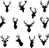 Set of 12 stylish STAG / DEER Heads Wall Car Laptop Fridge Sticker Designer's choice Wall Sticker Decoration Removable Decal Art Transfer Tattoo (Small: 10cm height)