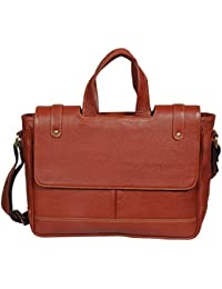 "O.K. INTERNATIONAL 14"" Laptop 100% Genuine Leather 9.9 Liters Dark Tan Leather Laptop Bag For Men Office/ Travelling..."