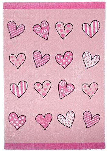 carpet city Kinderteppich Spielteppich Flachflor Junior mit Herzen-Motiv in Rosa, Pink für...