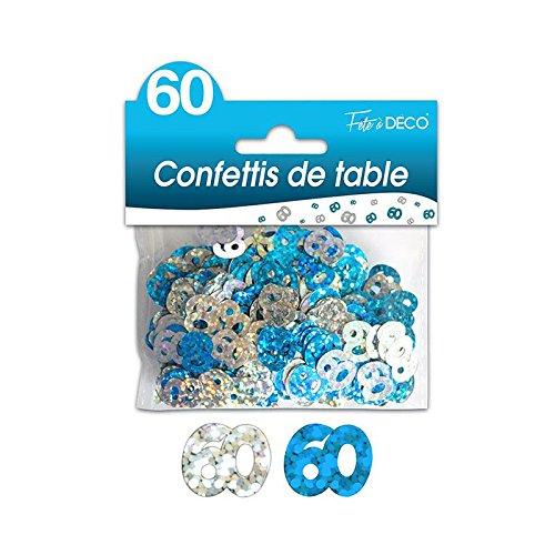 CONFETTIS DE TABLE 60 ANS BLEUE ARGENT