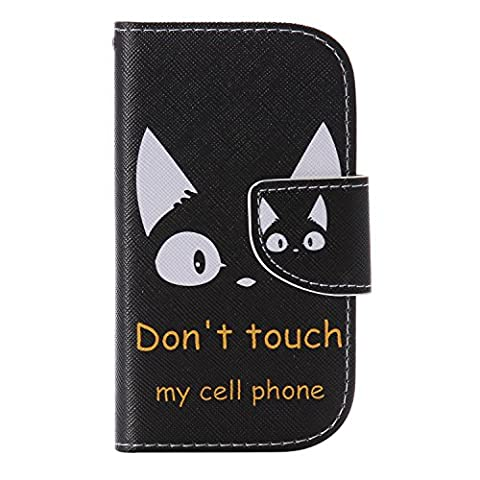 Coffeetreehouse Samsung Galaxy S3 mini i8190 Bookstyle Étui Fleur Housse en Cuir Case à rabat Bonne Qualité PU Cuir Portefeuille et Card Slot Étui pour Samsung Galaxy S3 mini i8190(Don't touch my cell phone)