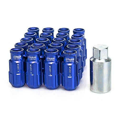 LIDAUTO éCrous de Roues Vis Anti-vol Haute dureté Alliage d'aluminium M12 * 1,5 / M12 * 1,25,M12*1.5,Blue