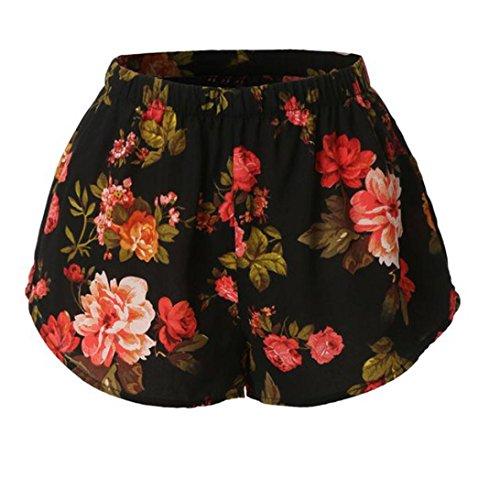 Preisvergleich Produktbild YunYoud Frauen-reizvolle Blume druckte Sommer-Kurzschlüsse (S, Multicolor)